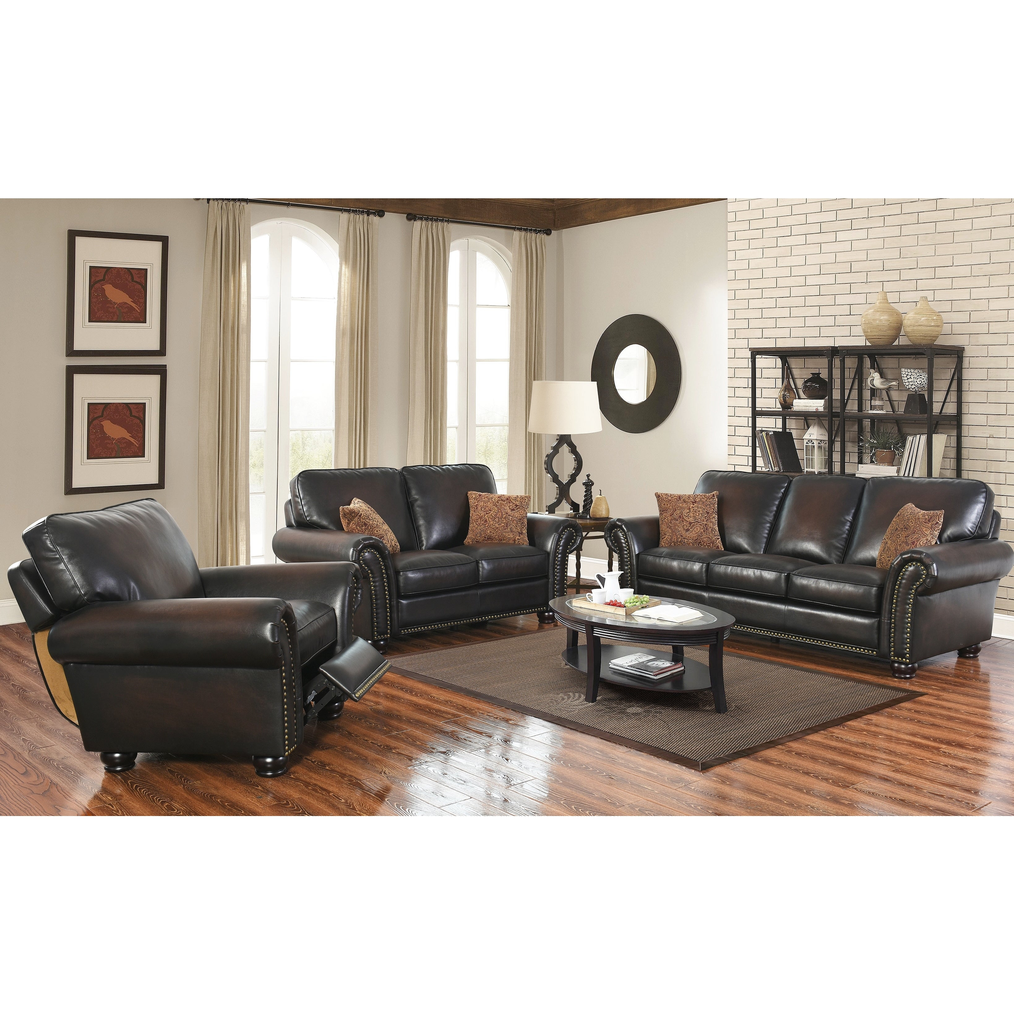 Abson Braxton Brown Bonded Leather 3 Piece Living Room Set with Living Room 3 Piece Sets