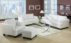 Acme Diamond Bonded Leather Living Room Set In White with regard to White Leather Living Room Sets