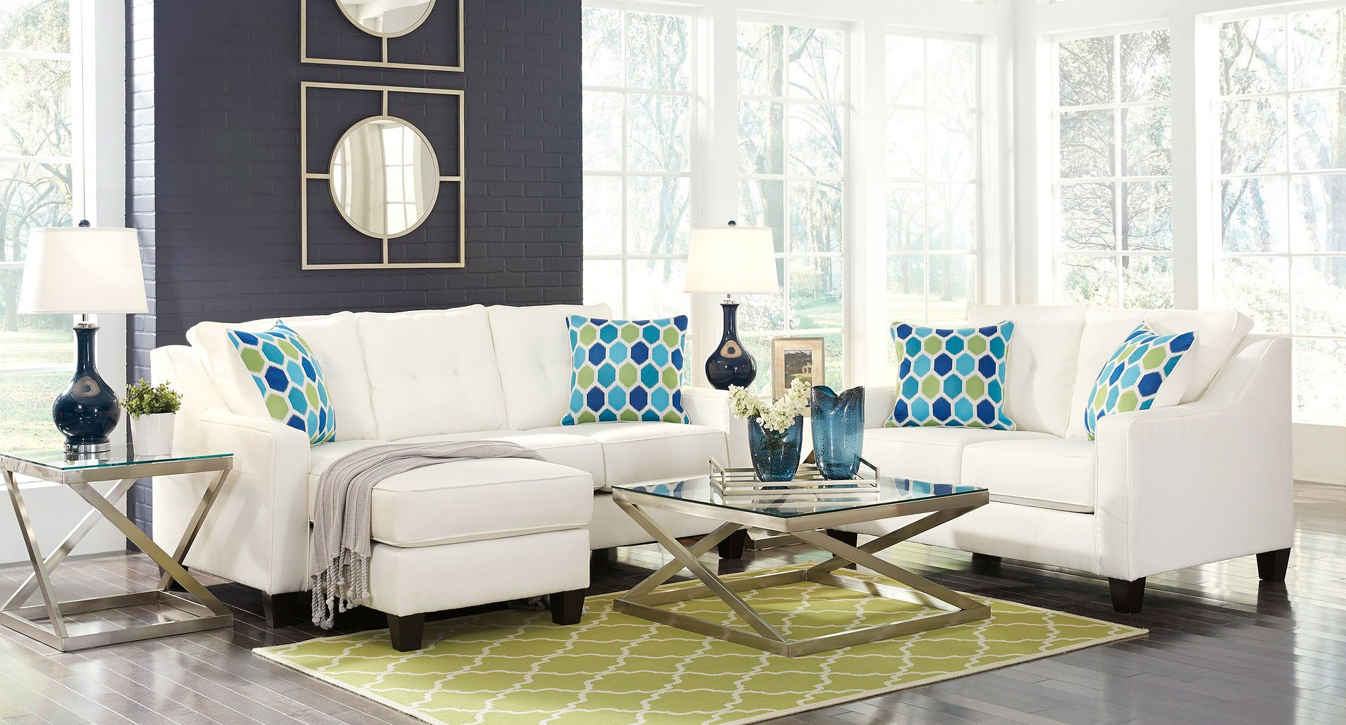 Aldie Nuvella White Living Room Set within All White Living Room Set