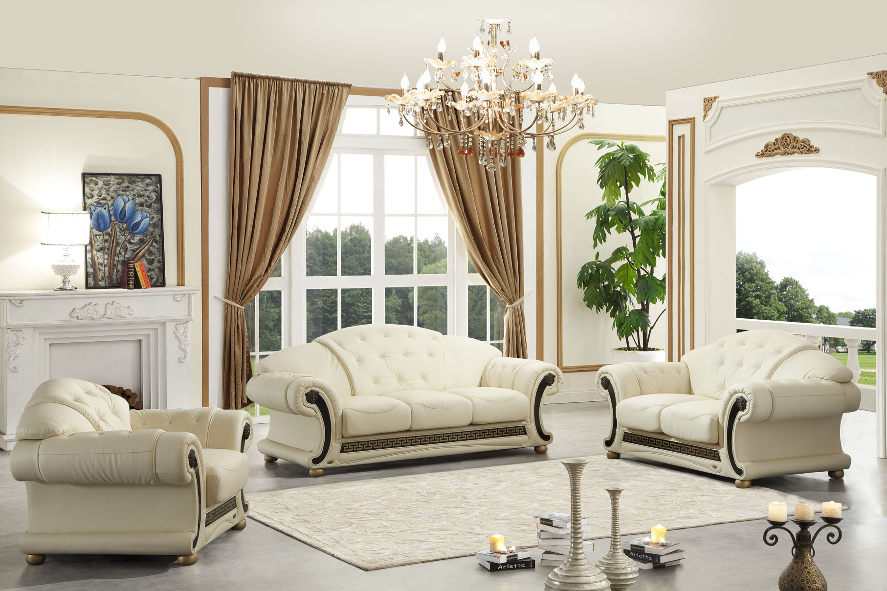Apolo Living Room Set In Ivory Italian Leather within White Leather Living Room Sets