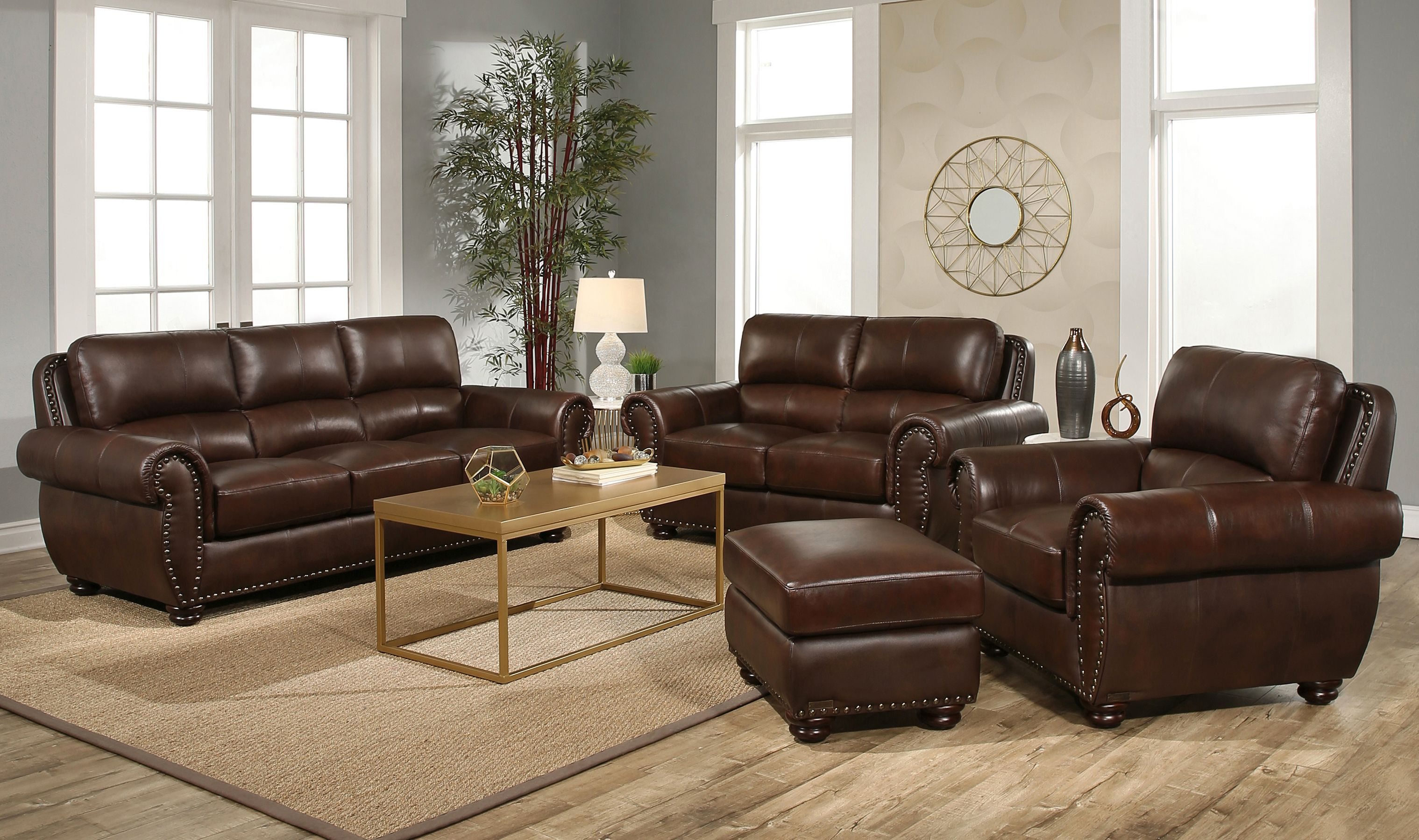 Austin 4 Piece Top Grain Leather Living Room Set intended for Costco Living Room Sets