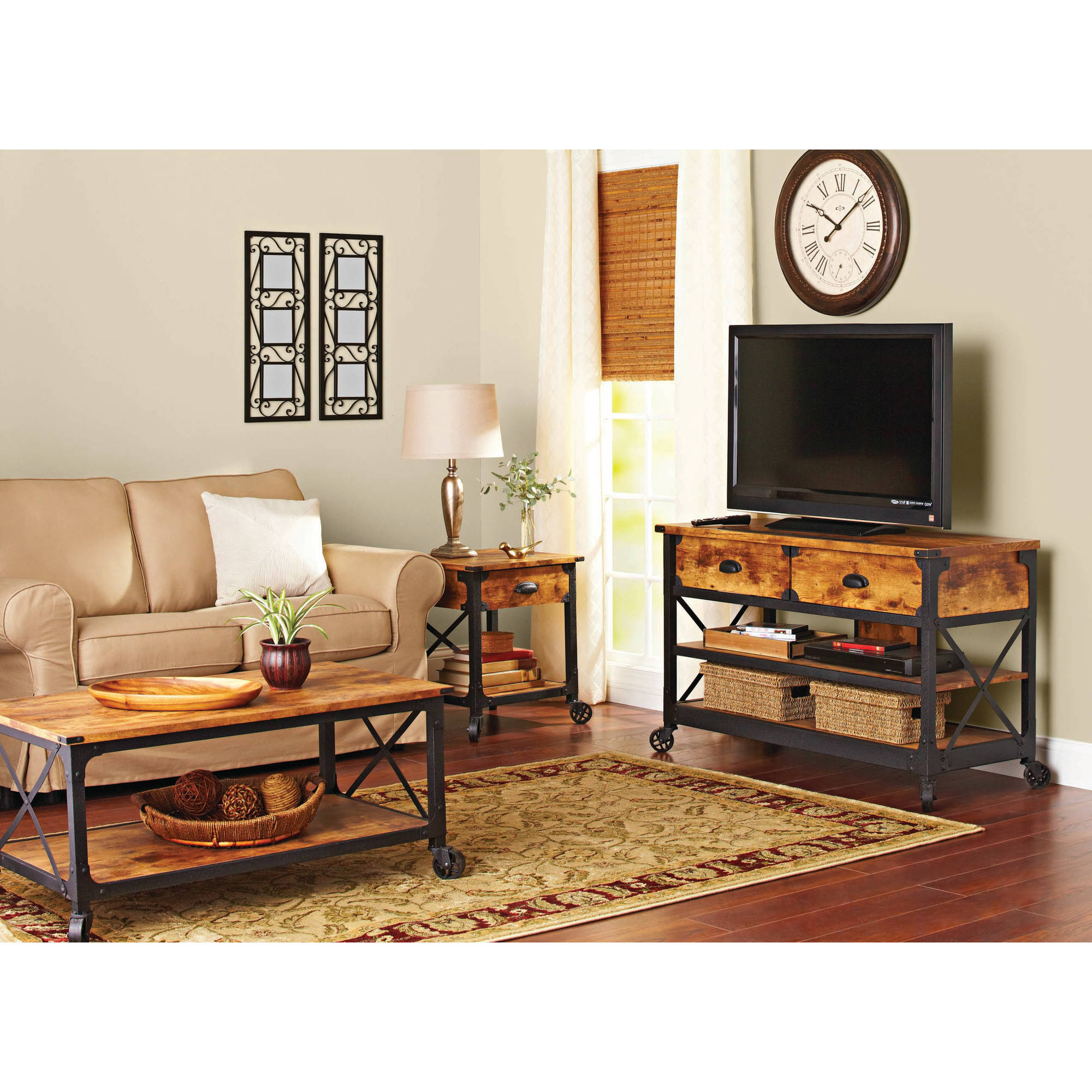 Better Homes And Gardens Rustic Country Living Room Set Walmart regarding Rustic Living Room Sets