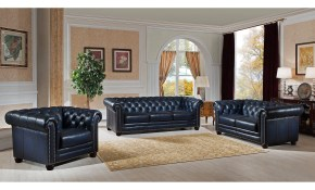 Blue Hand Rubbed Genuine Leather Chesterfield Sofa Loveseat And Chair Set throughout Chair Set For Living Room
