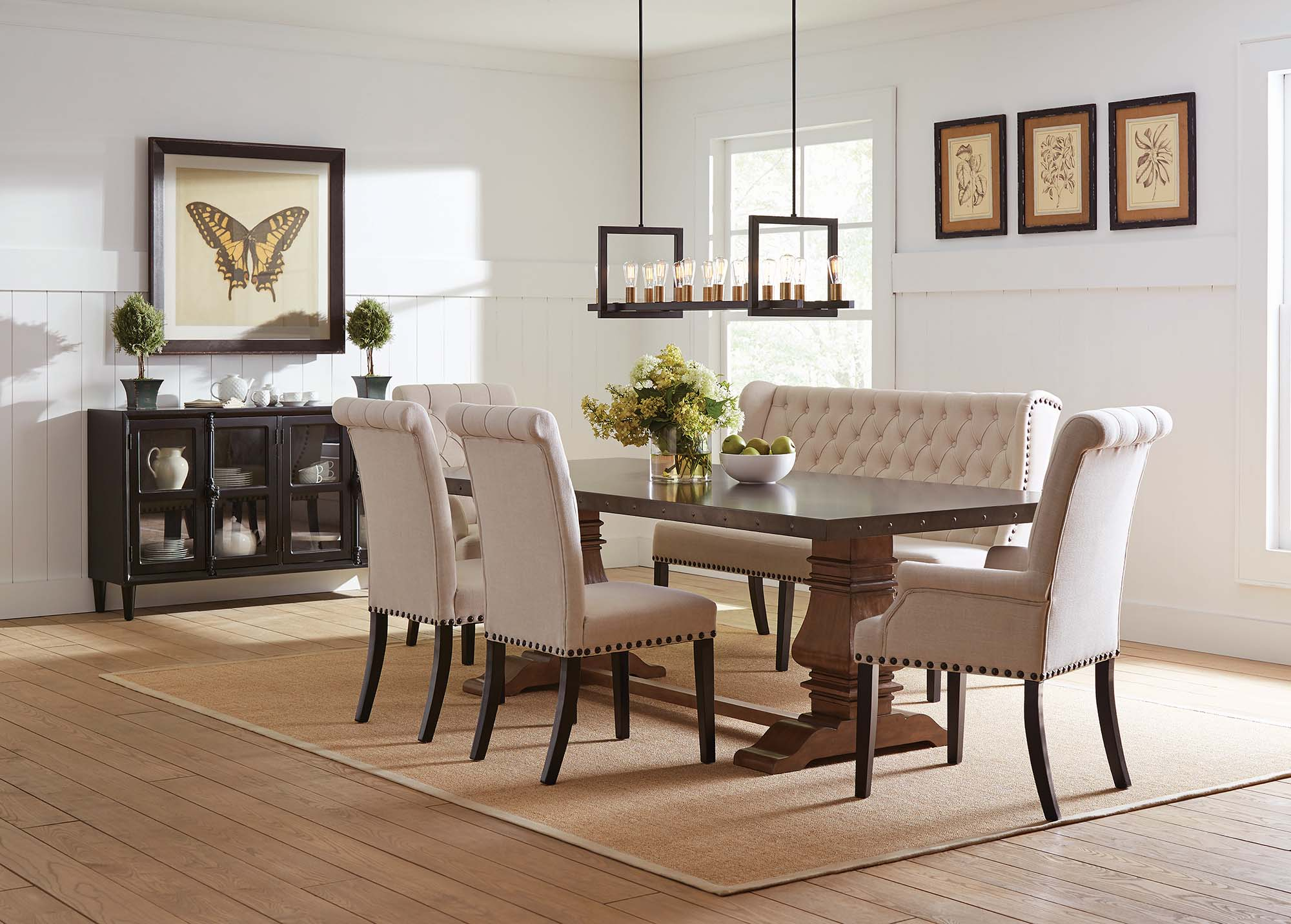 Coaster Furniture Mapleton Rustic Amber Beige 6pc Dining Room Set intended for 15 Some of the Coolest Designs of How to Build Rustic Living Room Sets