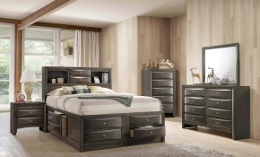 Crown Mark B4275 Emily Modern Grey Finish Storage Queen Size throughout Modern Bedroom Sets With Storage