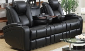 Delange Leather Power Reclining Sofa Theater Seats With Power Adjustable Headrests Storage In Armrests throughout 13 Awesome Designs of How to Improve Power Reclining Living Room Set