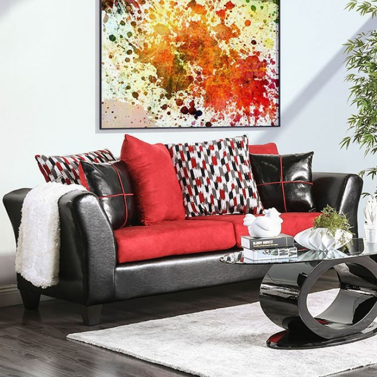 Furniture Of America Braelyn Living Room Set In Blackred with 14 Genius Tricks of How to Build Black And Red Living Room Set