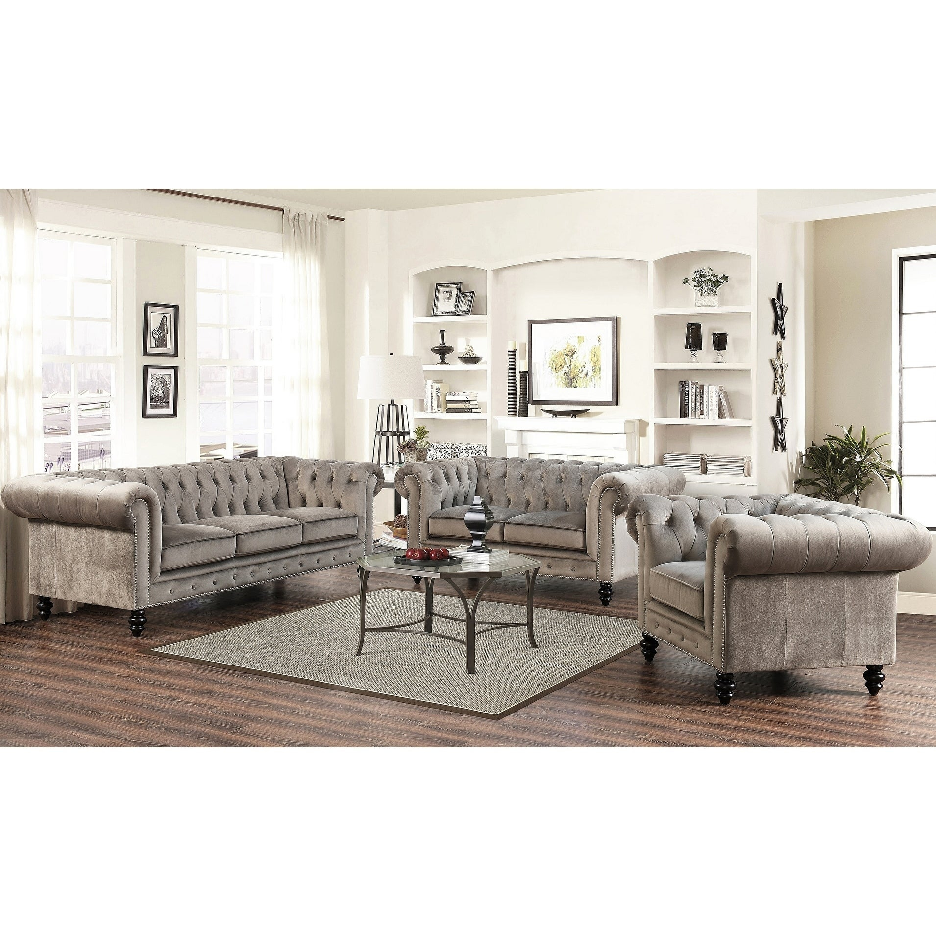 Gracewood Hollow Dib Grey Velvet 3 Piece Living Room Set throughout 12 Awesome Concepts of How to Improve Living Room Set 3 Piece