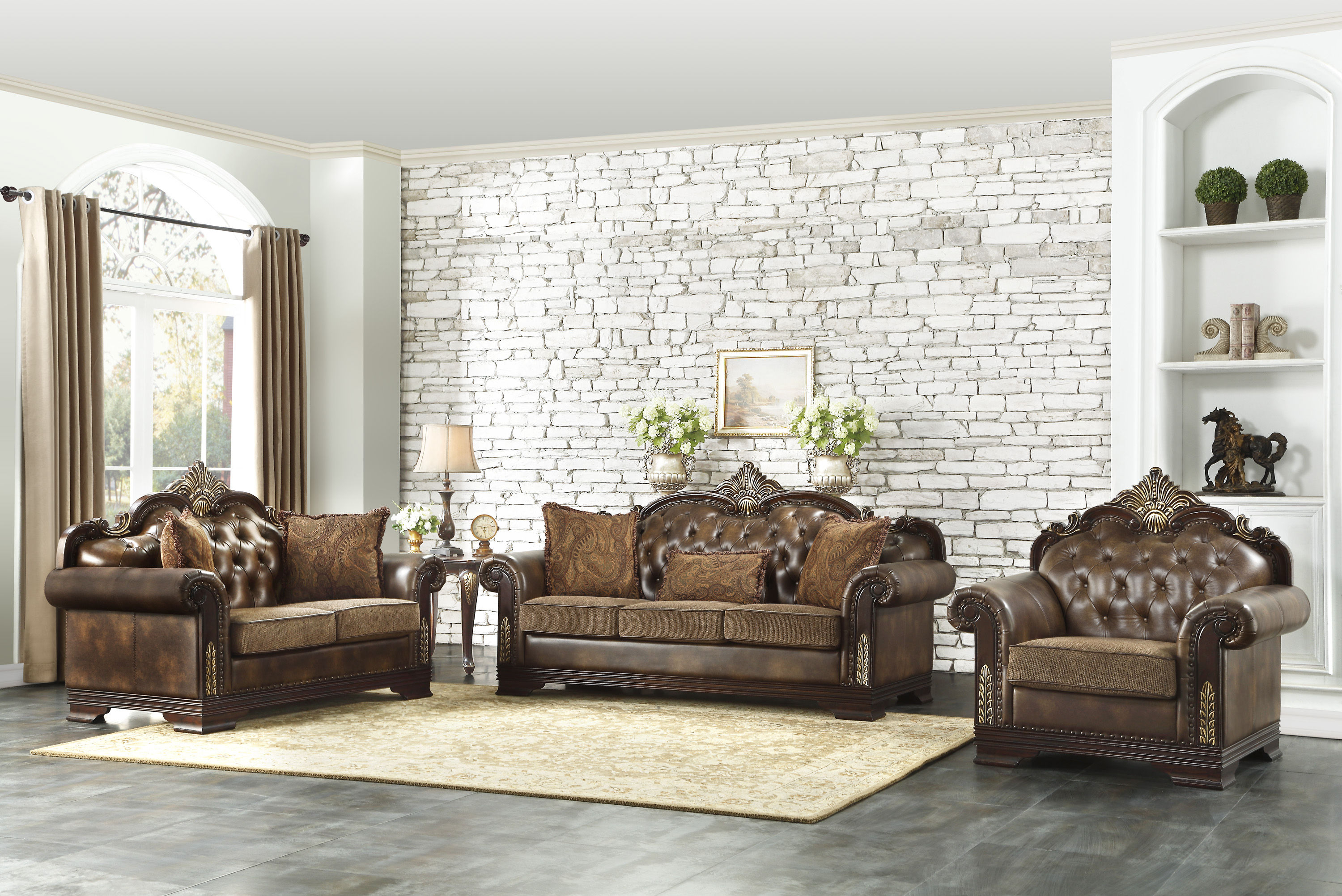 Home Elegance Croydon Rich Cherry Brown 3pc Living Room Set with regard to Cheap Living Room Sets Online