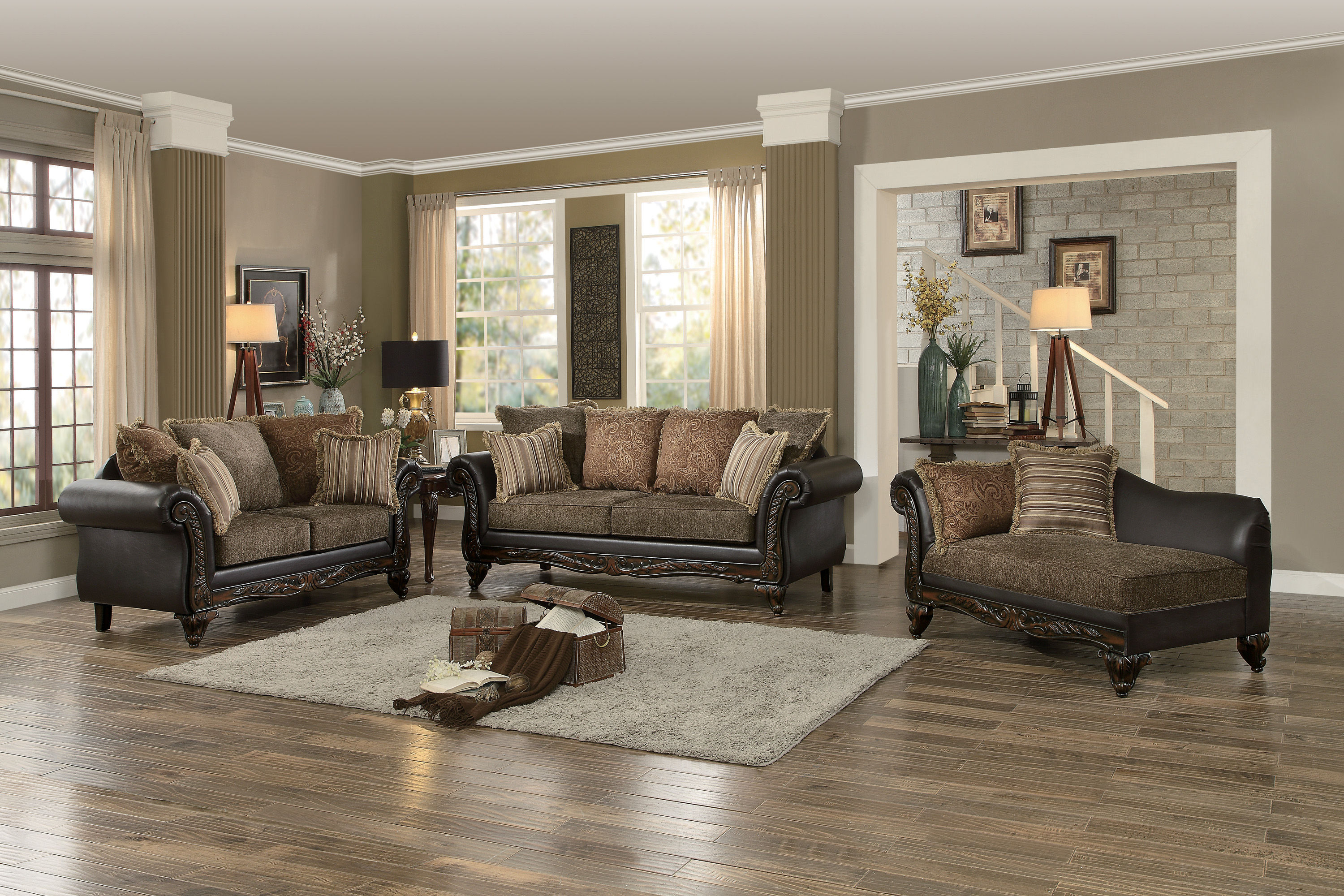 Home Elegance Thibodaux Brown 3pc Living Room Set within 15 Some of the Coolest Initiatives of How to Make Living Room Complete Sets