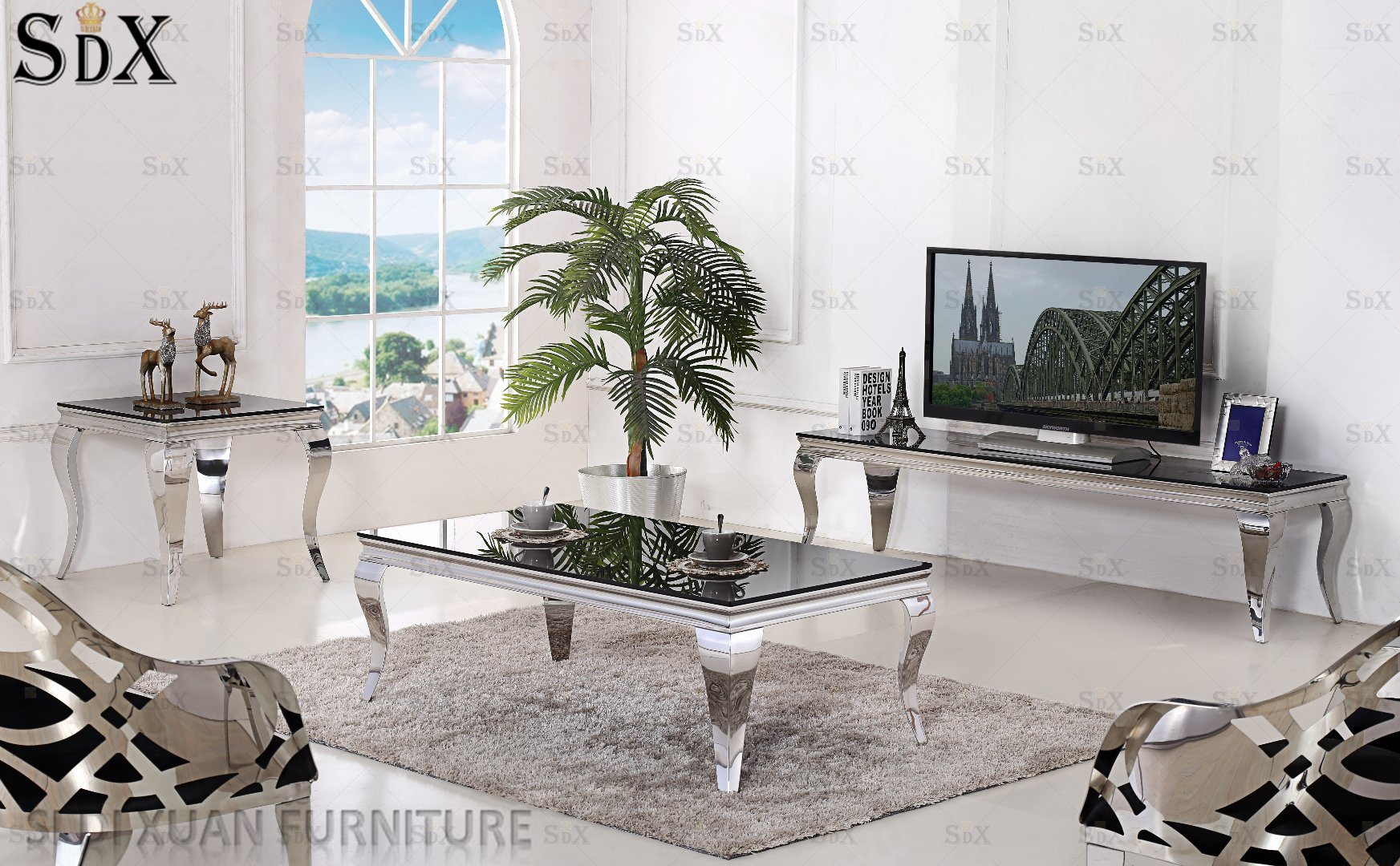 Hot Item Simple Glass Top Coffee Tables Stainless Steel Coffee Tables Living Room Tables For Sale within Living Room Sets For Sale