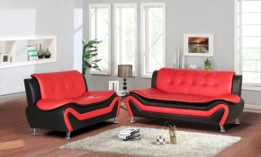 Jasmine Faux Leather 2pc Living Room Set throughout Red And Black Living Room Set