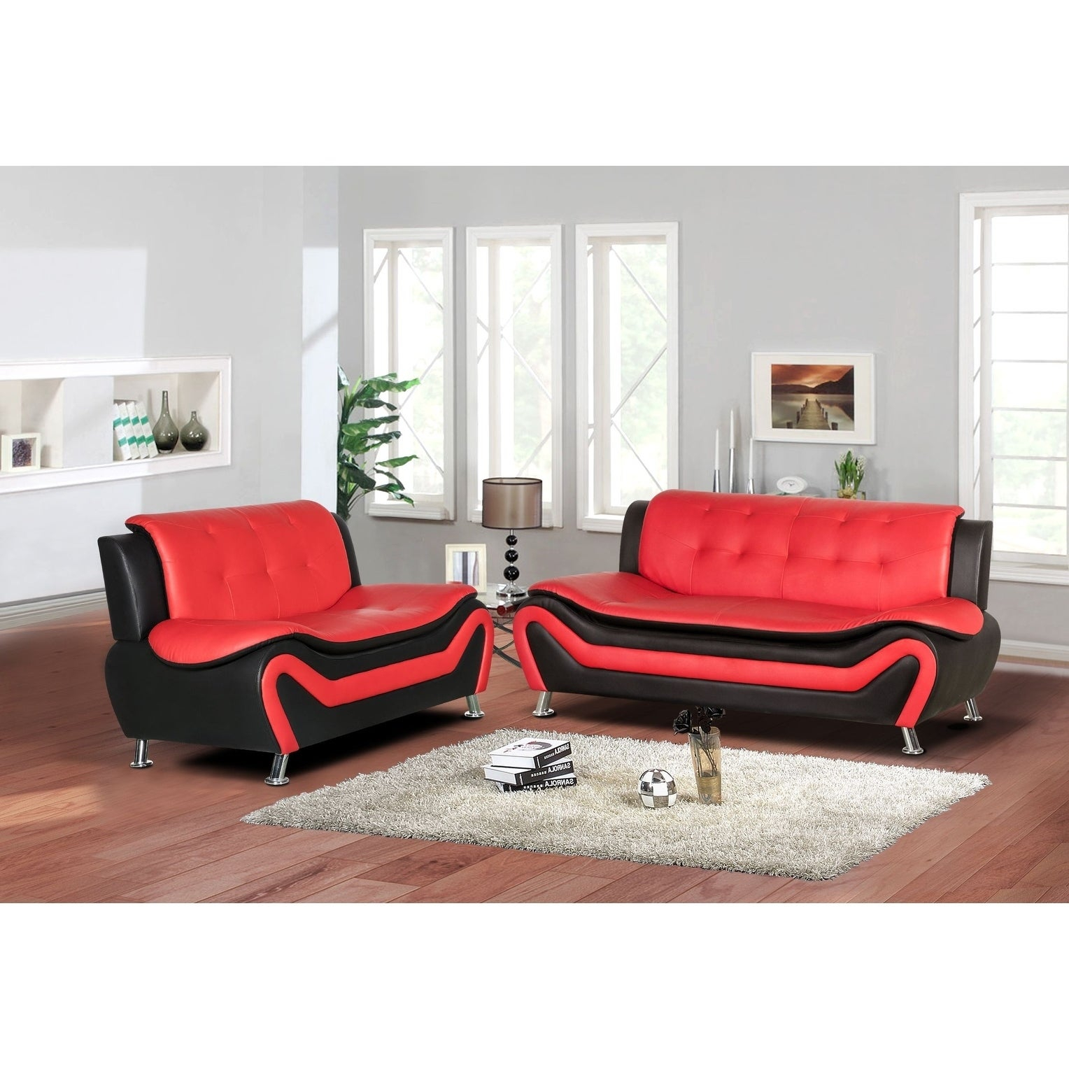 Jasmine Faux Leather 2pc Living Room Set within 14 Genius Tricks of How to Build Black And Red Living Room Set