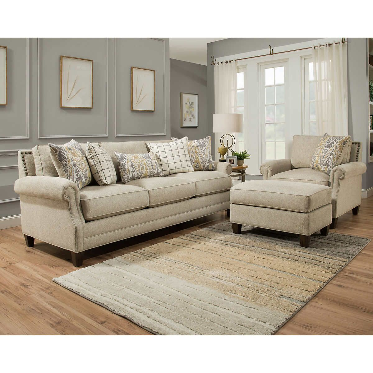 Kerrington 3 Piece Fabric Set Off White In 2019 Dream with regard to 14 Genius Designs of How to Craft Costco Living Room Sets