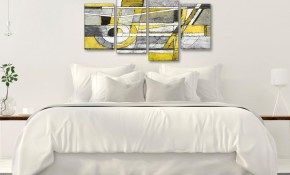 Large Yellow Grey Painting Abstract Bedroom Canvas Wall Art Decor 4400 130cm Set Of Prints with 11 Some of the Coolest Initiatives of How to Build Modern Bedroom Wall Art