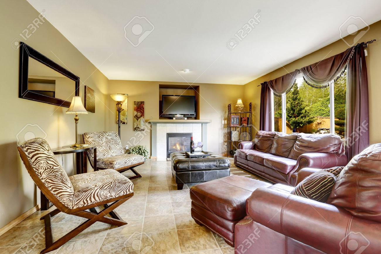 Luxury Living Room Interior With Fireplace Furnished With Burgundy throughout 13 Smart Initiatives of How to Improve Zebra Print Living Room Set