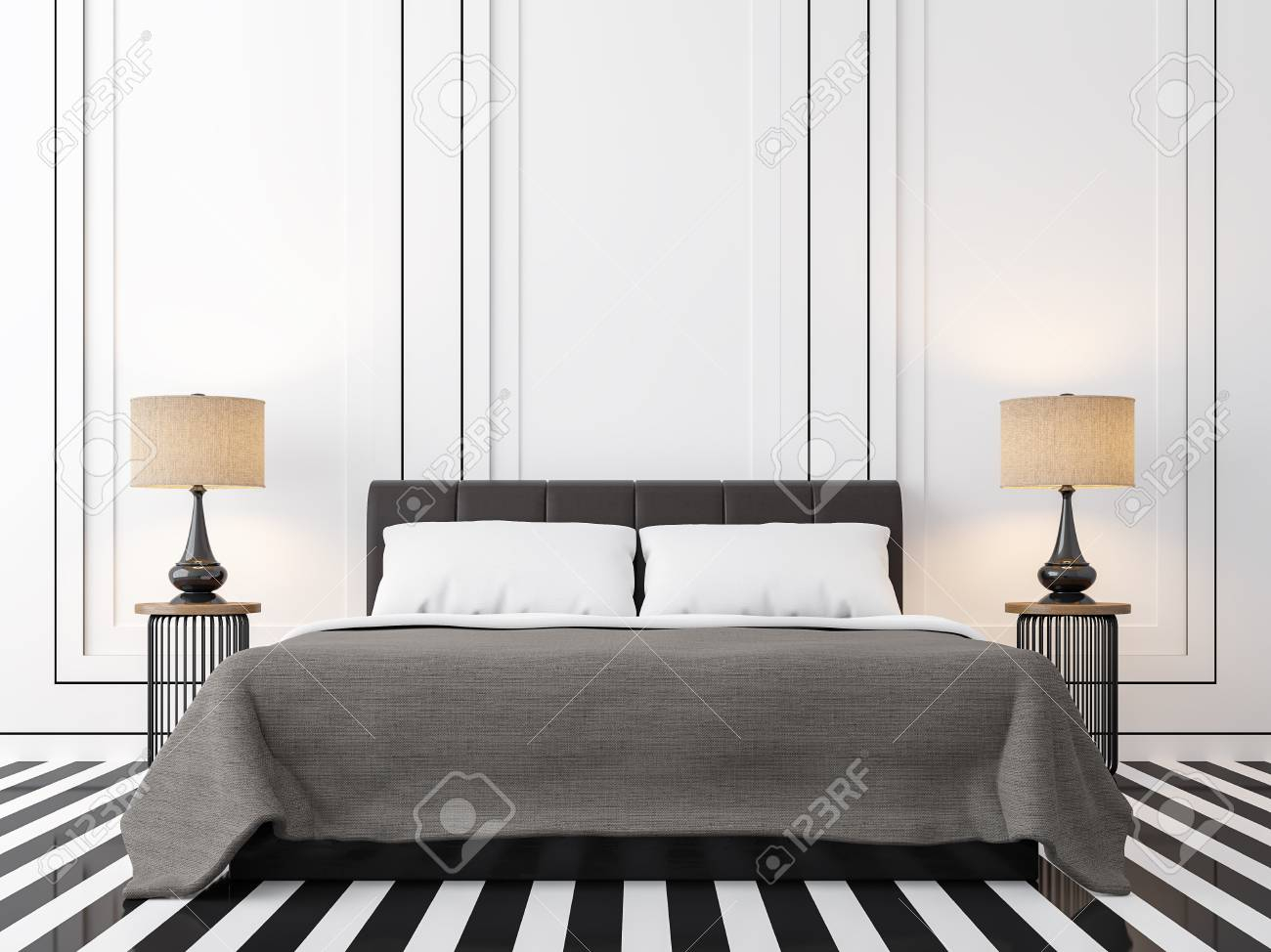 Modern Vintage Bedroom With Black And White 3d Rendering Image in Modern Retro Bedroom