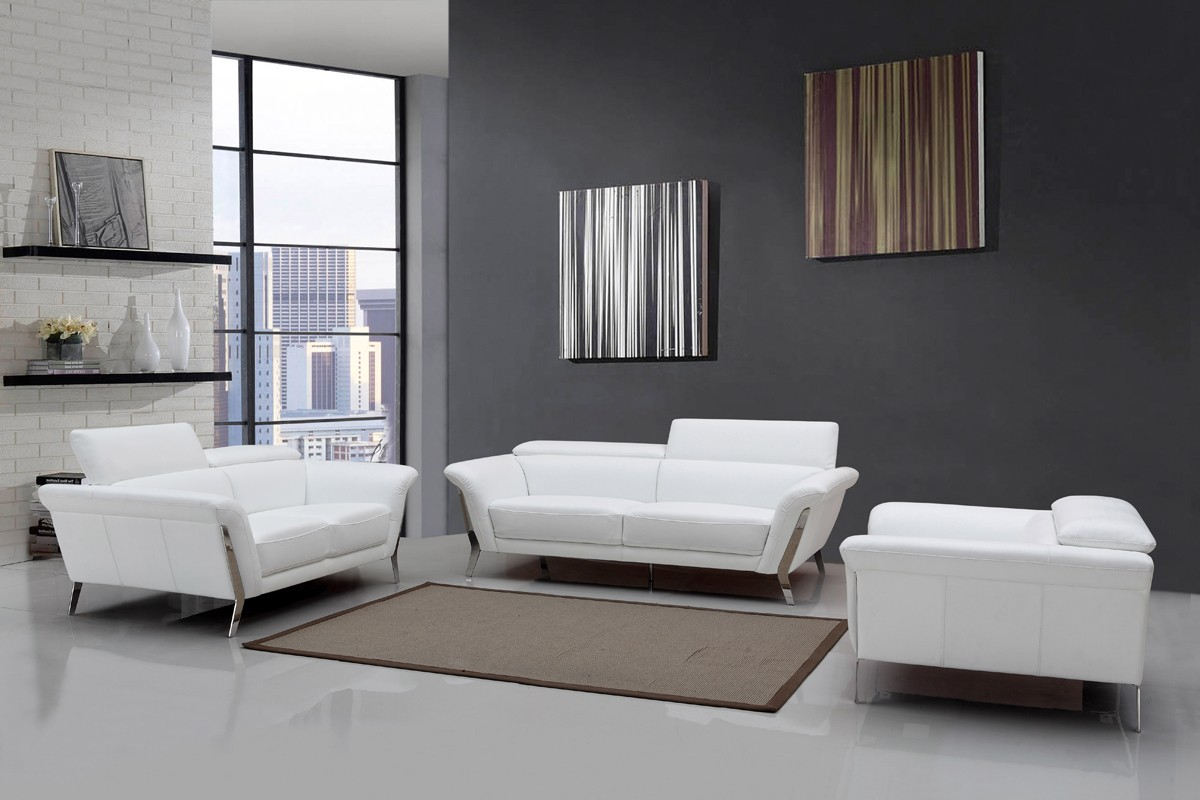 Modern White Upholstered In Italian Leather Sofa Set intended for White Leather Living Room Sets