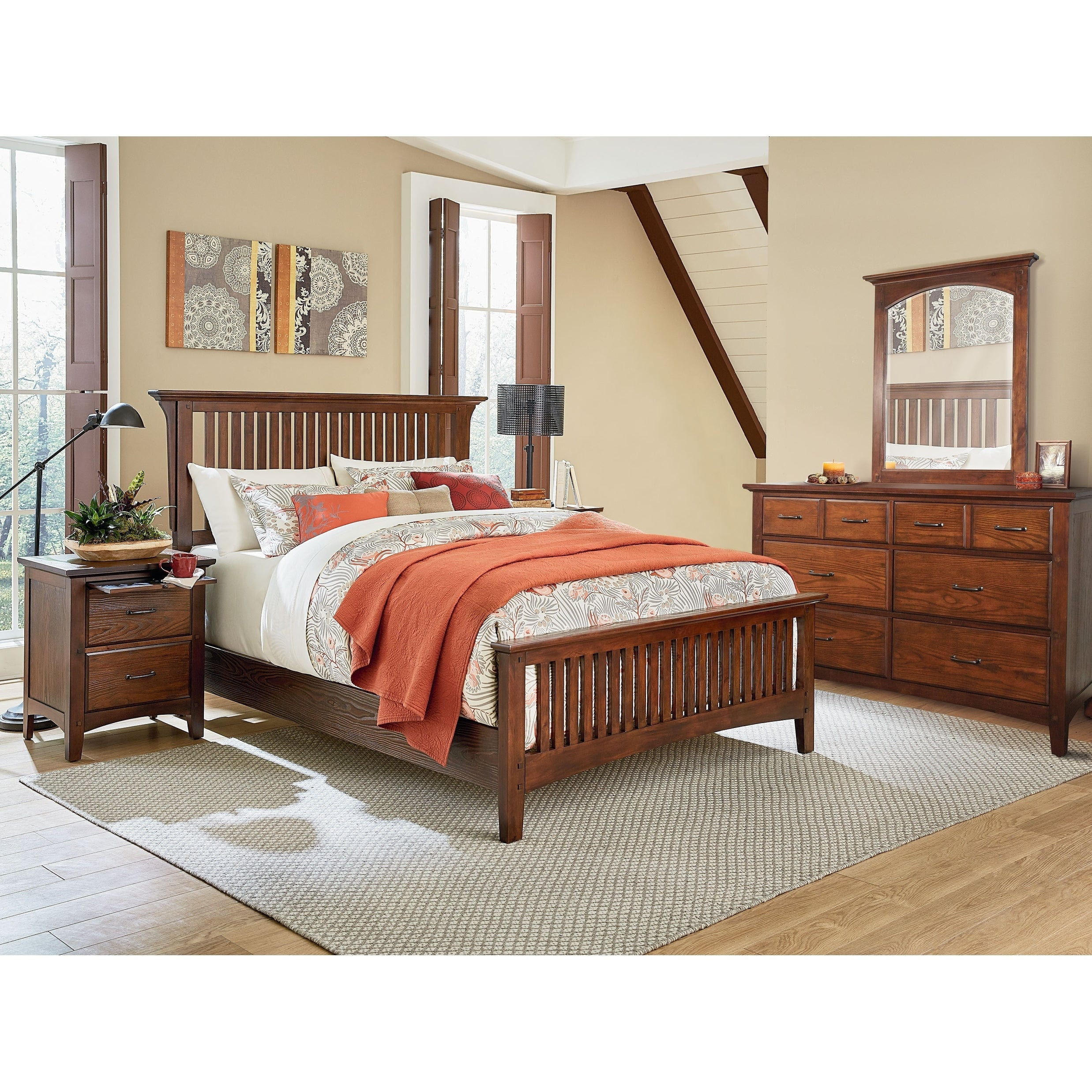 Osp Home Furnishings Modern Mission King Bedroom Set With 2 Nightstands And 1 Dresser With Mirror throughout 15 Genius Tricks of How to Craft King Bedroom Sets Modern