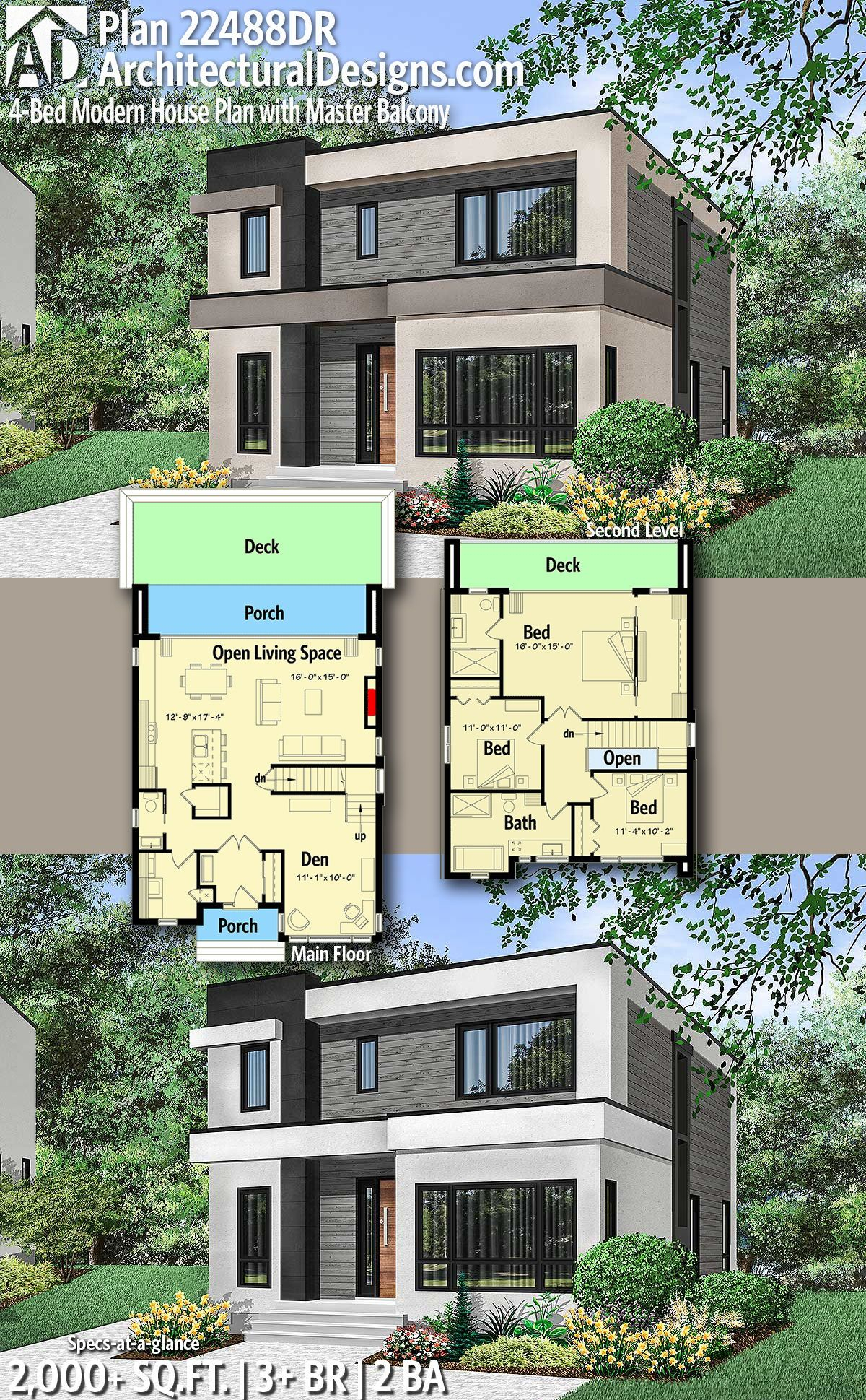 Plan 22488dr 4 Bed Modern House Plan With Master Balcony in 3 Bedroom Modern House Design