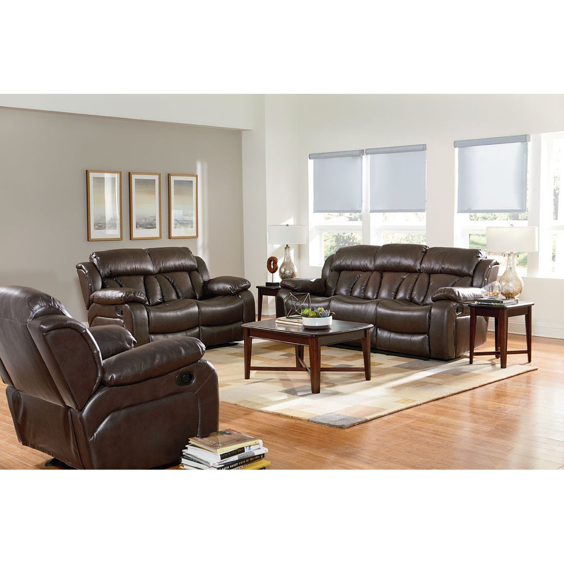 Standard Furniture North Shore Reclining Sofa Set In Chocolate within North Shore Leather Living Room Set