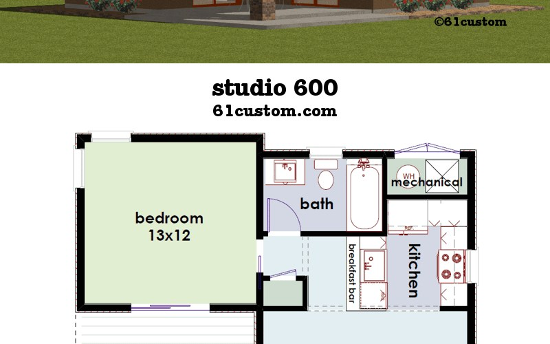 Studio600 Small House Plan for Modern One Bedroom House Plans