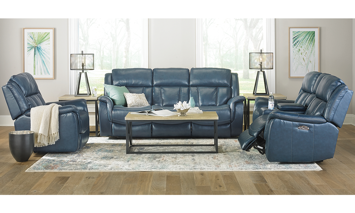 Trojan Blue Power Reclining 3 Piece Set With Power Headrest throughout 3 Piece Living Room Set Cheap