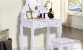 Us 1790 Giantex White Vanity Jewelry Wooden Makeup Dressing Table Set With Stool Mirror 5 Drawers Modern Bedroom Dressers Hw55564 On inside Modern Bedroom Dressers