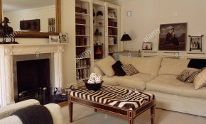 Zebra Print Stool And Cream Sofa In Elegant Living Room With intended for Zebra Print Living Room Set