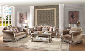 Acme Furniture Northville Antique Champagne 3pc Living Room Set throughout Set Living Room