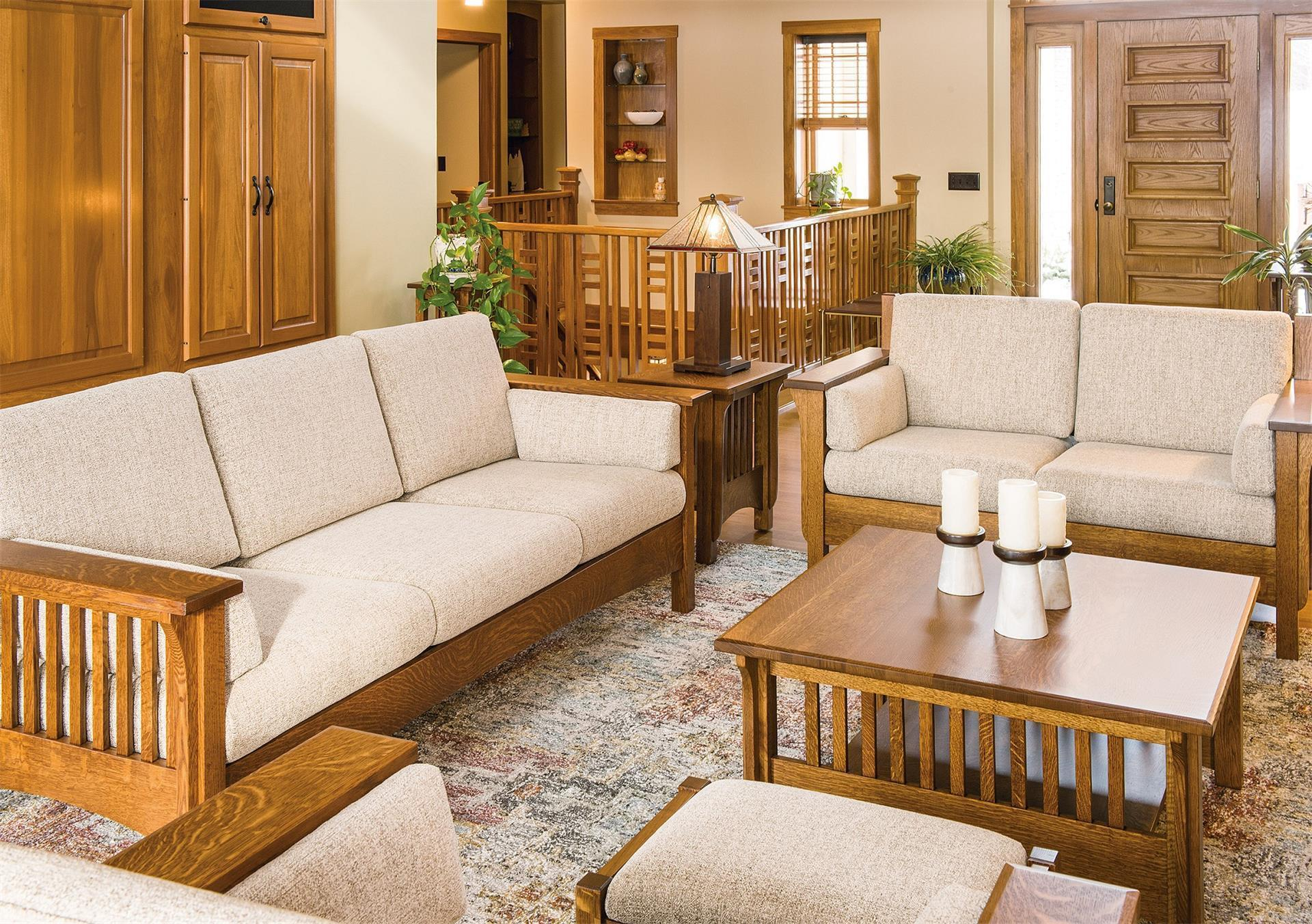 Amish Pioneer Mission Square Coffee Table with regard to Mission Living Room Set