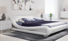 Marlo Leather Bed White regarding Modern Leather Bedroom Sets