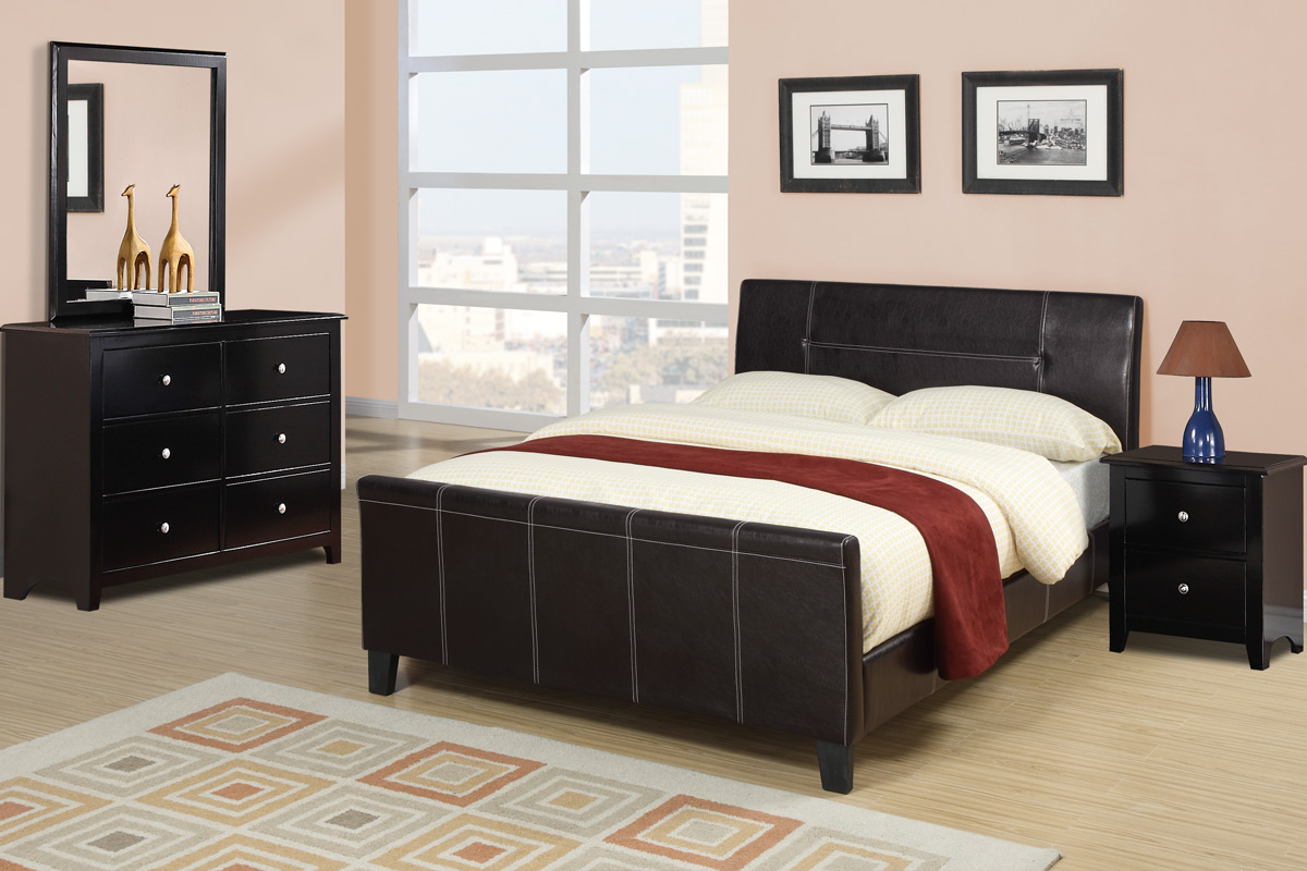 Sleek Design Modern Bedroom Furniture 4pc Set Espresso Low Profile Platform Queen Size Bed W Faux Leather Upholstery Dresser Mirror Nightstand In with regard to Modern Leather Bedroom Sets