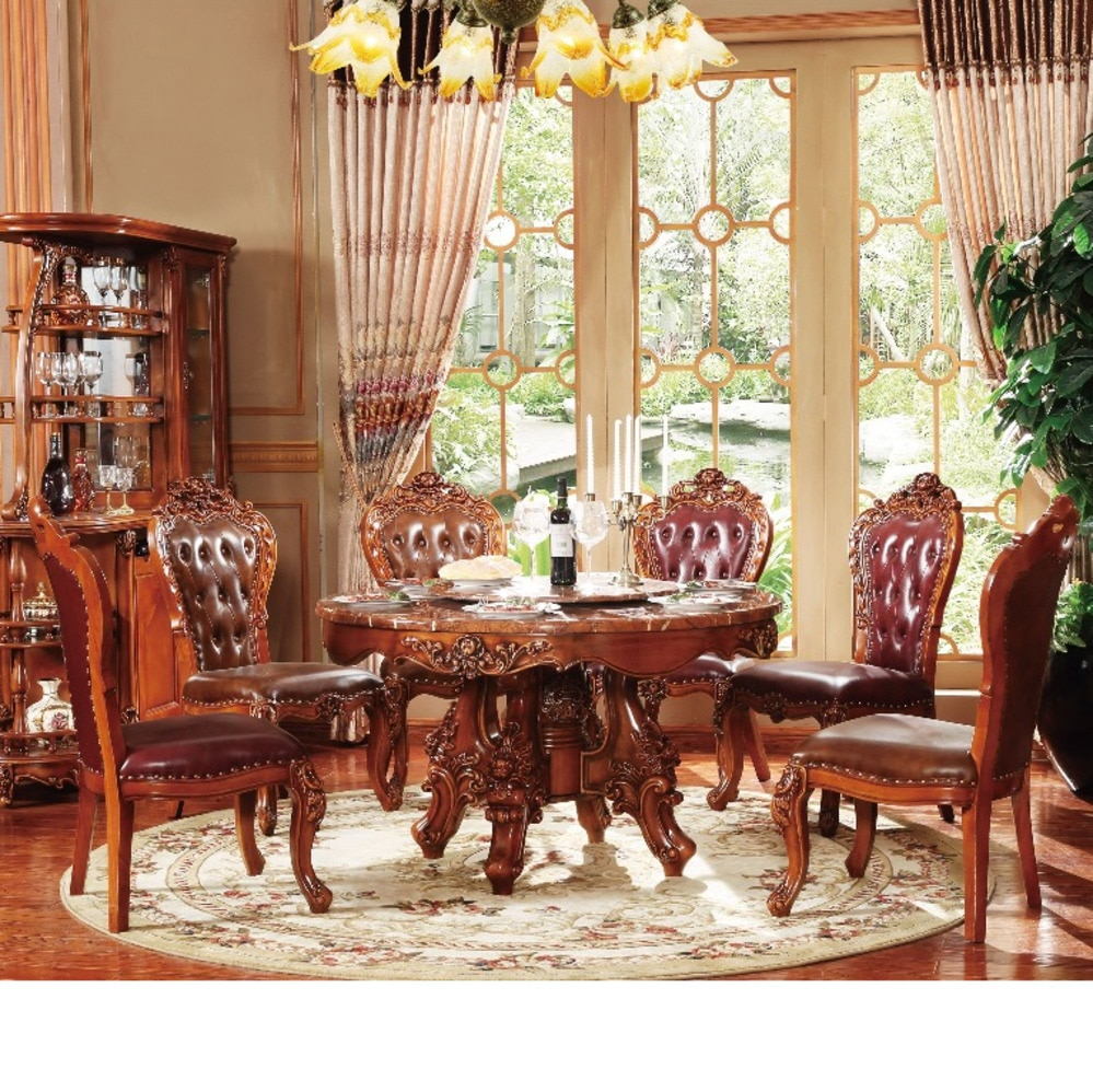 Us 23810 New Classical Dining Room Furniture Wooden Carving Kitchen Table Set Muebles Chair Marble Mesa Plegable De Jantar Sala Comedor In Dining throughout Wooden Living Room Sets