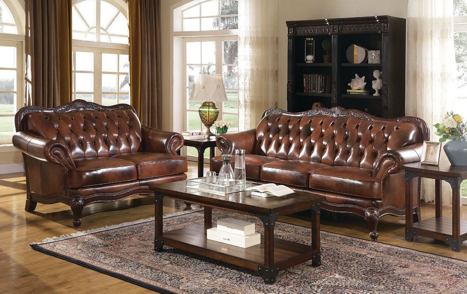 Victoria Leather Living Room Set in Set Living Room
