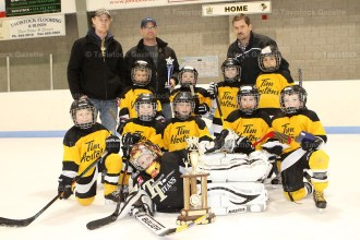 Tavistock Tykes: In front goalie Ryan Roden; first row (left to right): Marshall McKay, Cam Munro, Drew Roth, Colin Smith, Jay Alexander 2nd row: Zachary MacMillan, Jackson MacMillan, Colby Rhodes, Jack Matheson; behind: Coaches Josh Munro, Roger MacMillan, and David Johnson.