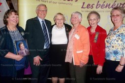 Princess Elizabeth W.I. ladies receiving Ontario Volunteer Service pins on Tuesday, March 15 at Arden Park in Stratford include, from the left: Linda Bender (receiving for her late mother Dorothy Riebling - 60 years), Ernie Hardeman, Jean Houghton - 60 years, Mary Lou Ross - 30 years, Mary Nicklas - 50 years and Shonna Ward - 30 years. All the ladies were nominated by the Princess Elizabeth Women's Institute.