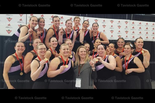 The Silver Medal Synchro II Team includse, from the left, in front: Lori Hartman, Lisa Radford, Meghan Tallevi, Steph Lupton, Patti Fleming second row: Lindsay Zehr, Carolyn Quehl, Candy Adam, Barbara Blay, Jenna Zinken back row: Gwen Eadie, Justine Voll, Leanne Wood, Dawn Brokers, Jenn Currah, and Kendra Miller.