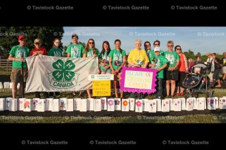 Members of the 4-H Community Club cancer relay team include, from the left: Liam Pullen, Keeton Jones, Megan Verhoeven, Ben Bruce, Laura Witmer, Janet Bruce, Amanda Witmer, Pat Black, Elizabeth Bruce, Hailee Verhoeven, Jacob Bergsma, Shonna Ward, Jayme Emerson, Naomi Emerson. Absent when the photo was taken were Jessie Carberry, Emily Schwartzentruber, and Thomas Knoops. The Team received the Premier Award for raising over $10,000.