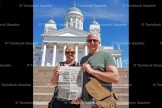 Janet and Mike Churchward recently did a 10-day Baltic cruise, which included stops in seven cities. At right is a picture of them holding the Gazette up in front of the Helsinki Cathedral in Helsinki, Finland.