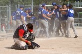 ON3 Oshawa Double B catcher Alex Dumais hangs his head after the Québec Express mounted a comeback in the bottom of the 7th inning to win the gold medals in an 11-10 final on Sunday afternoon.