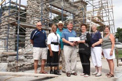 Rotary Club of Tavistock Publicity Chair Ken Sommers presents Queen's Park Stone Gates Restoration Chair Shirley Hanlon with a cheque for $1,000. From the left are Rotary District Assistant Governor Brian Bennett, Rotary President Eva McLaren and Community Services Chair Harry Lawry. At right are Stone Gates committee members Barb Matthies and Chris Wiffen.
