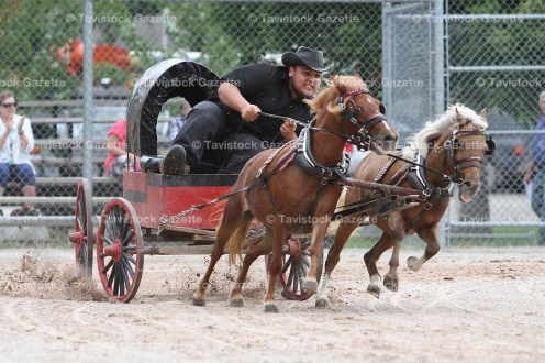 "Jason ""Johnny Cash"" Bomberry in the mini chuck wagon races."