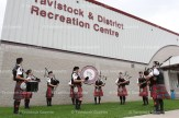 The Stratford Police Pipes and Drums play in front of the Recreation Centre following the parade on Saturday morning.