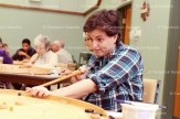 Esther Eby concentrates on her shot during Tavistock Crokinole Club action last Tuesday evening, October 4, 2016 at the Tavistock Missionary Church.