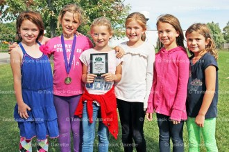 Tavistock Public School Girls won the Novice Team Award at the Happy Hills cross-country meet on Monday, September 19, 2016 with six runners finishing in the top 20. The team included, from the left, Zoey Shantz 12th, Ruby Harnack 1st, Charlee Harvey 17th, Emma Weitzel 15th, Tessa Gerber 19th, and Allie Campeau 9th. About 350 students participated in the annual event.