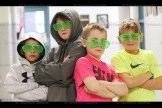 Looking cool in their neon shades following the Dance-a-thon are Tavistock Public School students, from the left, Carter Skillings, Grade 4; Max Harvey, Carter Otto and Brady Raymer, all in Grade 5.