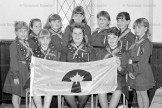 "GAZETTE MEMORIES: MAY 9, 1990 - The annual Mother-Daughter Banquet of the lst Tavistock Brownies was held last Tuesday evening, May lst in the Board of Trade Building with a capacity attendance of seventy Brownies and their mothers for the pot luck dinner. As part of the program, ten of the young ladies proceeded to ""fly up"" to Guides on the successful completion of three years in the Brownie Pack. The girls are: seated left to right: Lisa Dietrich, Jessica Witzel, Sarah Atwell; back row, Jennifer Routly, Jessica Bechtel, Michelle Bellamy, Lisa Lange, Meaghan Matresky, Sandra Nader, and Lisa Bender."