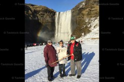 Linda Debus (left), Heather and Murray Schlotzhauer are shown at Rangarping Eystra waterfall in Iceland.