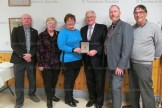 Thistle Theatre will receive an Ontario 150 grant for $160,000 for upgrades to the Embro Town Hall. From the left, Ward 4 Councillor Doug Matheson, Mayor of Zorra Margaret Lupton, Thistle Theatre chair of Ontario 150 project Wendy Marshall, Oxford MPP Ernie Hardeman, TT President Norm Northmore and committee member Don Hilborn.